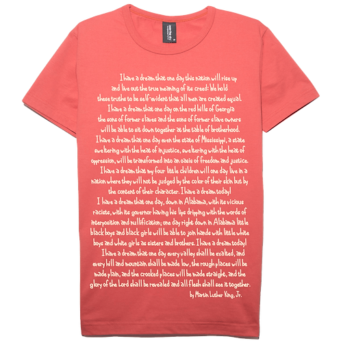 Martin Luther King Jr. design salmon color cotton T-shirt