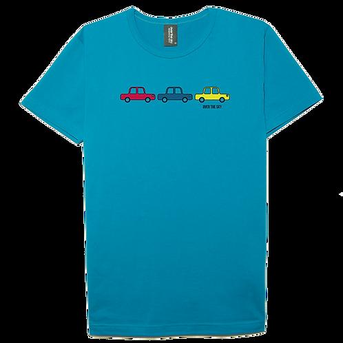 Card design sea blue color cotton T-shirt