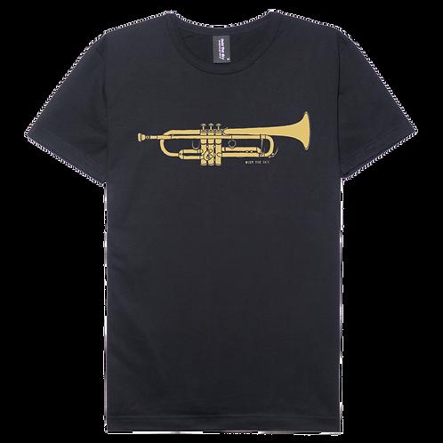 Trumpet design black color cotton T-shirt