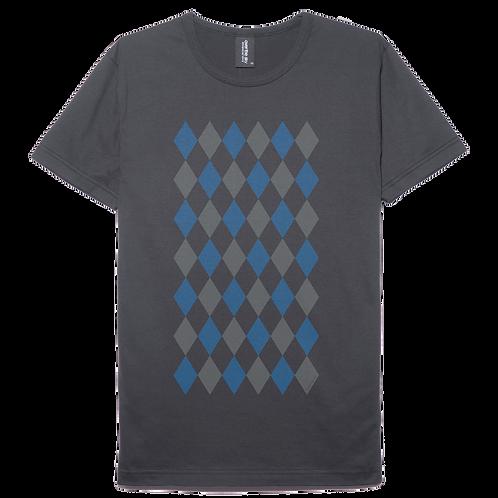 Argyle pattern design white color blue printed cotton T-shirt