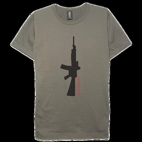 Gun design gray color cotton T-shirt