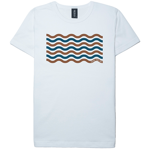 mellow wave design white color cotton T-shirt
