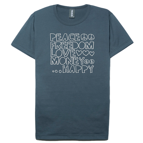 Real world design slate gray color cotton T-shirt