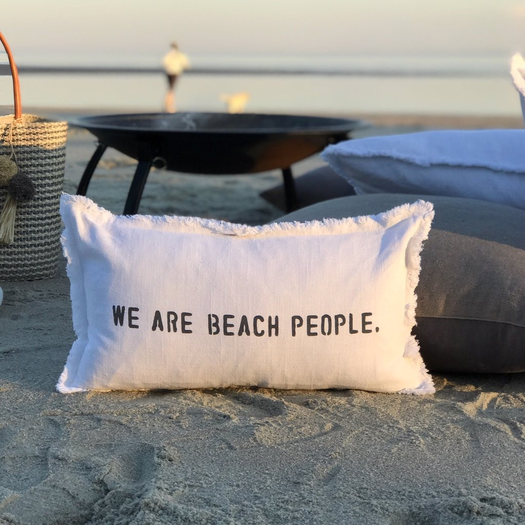 we are beach people pillow