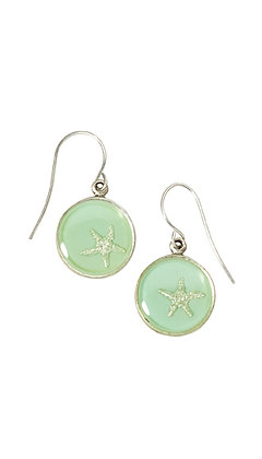 Silver Starfish Round Drop Earrings