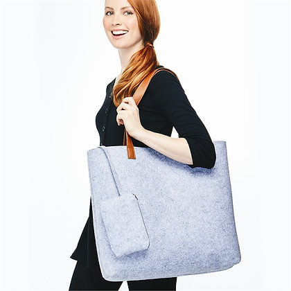 Felted Tote & Pouch Navy