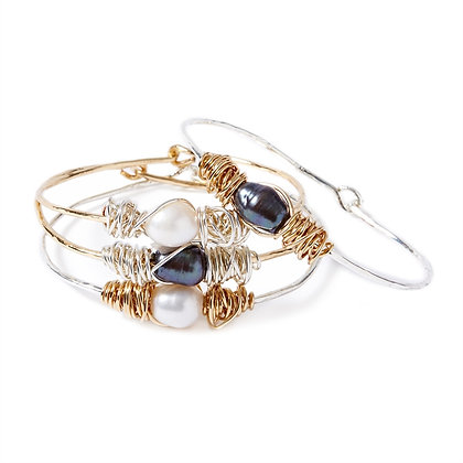 Wire Wrapped Pearl Bangle