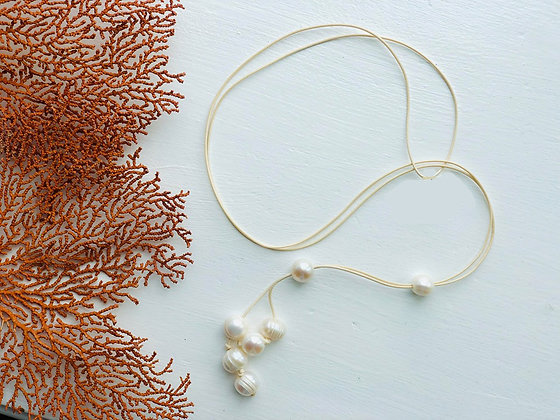 The Minimalist Pearl Lariat - Crema Leather
