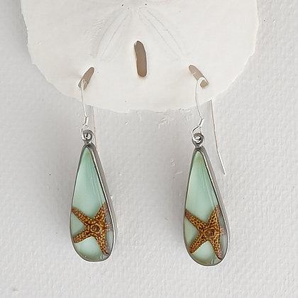 Natural Starfish Tear Drop Earrings
