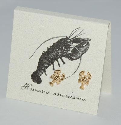 Lobster Earrings Gold Vermeil