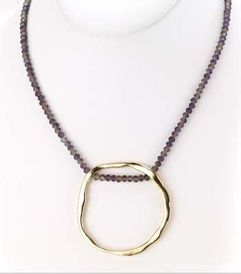 St. Tropez Crystal O Necklace Gold