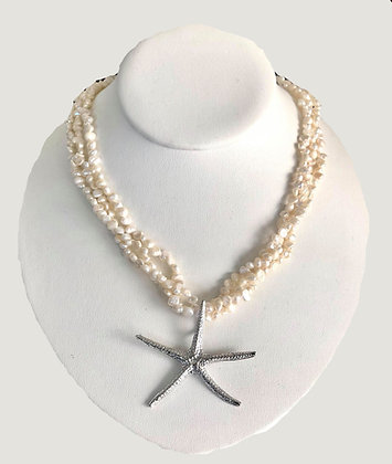 The  Mo'orea Freshwater Pearl Sea Star Necklace