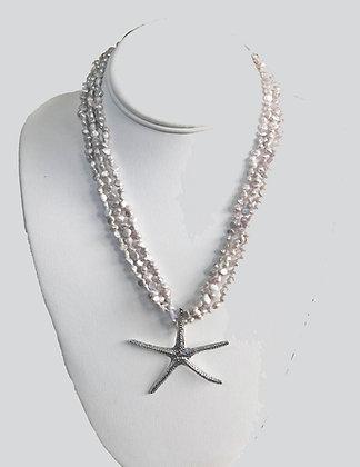 The  Mo'orea Gray Freshwater Pearl Sea Star Necklace