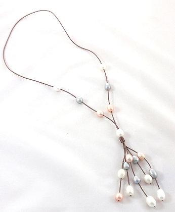 Mo'orea Leather & Pearl Tassel Necklace
