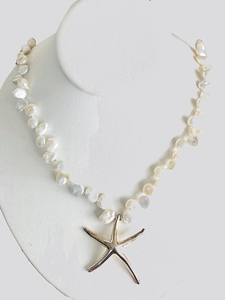 The St. John Keshi Pearl Sea Star Necklace