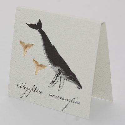 Whale Tail Earrings Gold Vermeil