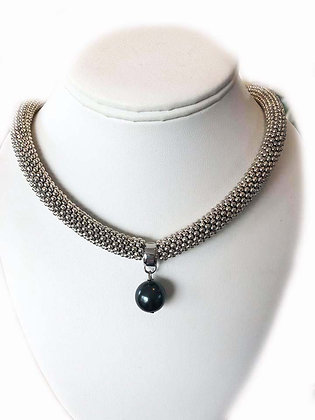 The Cape Cod Mother of Pearl Necklace Tahitian Black  Pearl