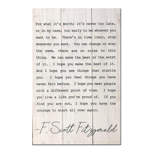 F. Scott Fitzgerald Sign