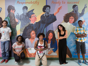 MA ALUMNUS COLLABORATES WITH HIGH SCHOOL STUDENTS TO CREATE A MURAL