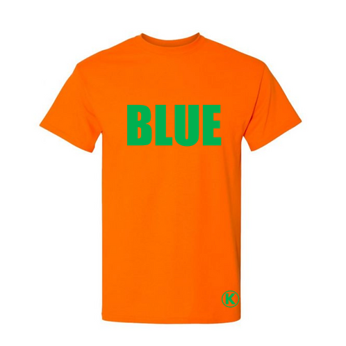Orange Tee with BLUE in Green