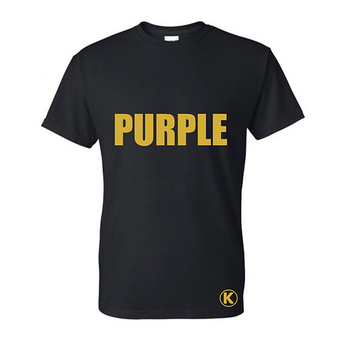Black Tee with PURPLE in gold