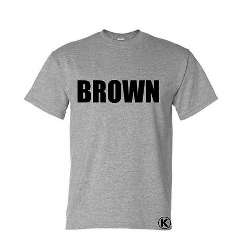 Gray Tee with BROWN in black