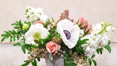 White and Blush Garden Arrangement.  Ane