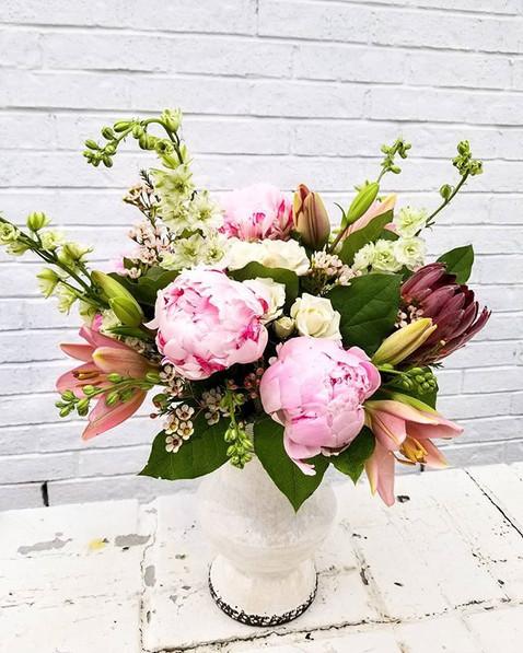 Large vase arrangement.  Pink peonies, p