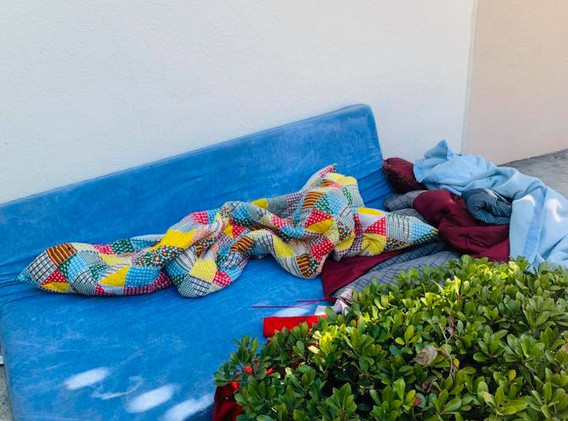 sleeping outside due to homelessness