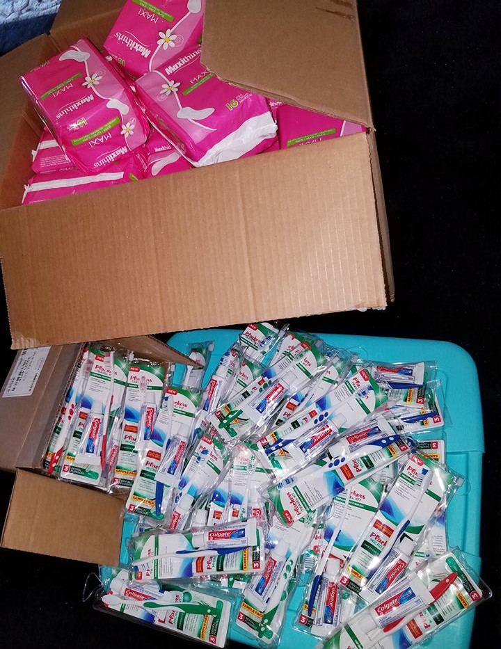 Sanitary pads, toothbrush-toothpaste kits