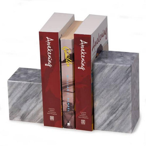 Marble Block Bookends (Gray)