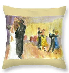 ballroom dancer throw pillow design by Andrea Goldsmbith