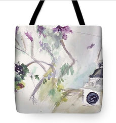 Totebag for sale with New England image of lilacks and church