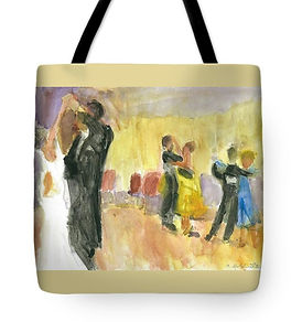 Balllroom Dancer Tote Bag of original painting by Andrea Goldsmith
