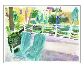 Fine art print of Hollywood Beach with two Adirondack chairs from an original watercolor by artist Andrea Goldsmith