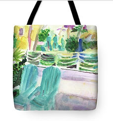 Fine art totebag of Hollywood Beach with two Adironadack chars from original painting by Andrea Goldsmith