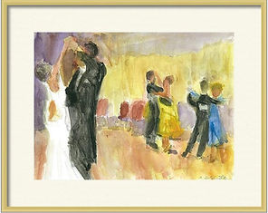 Print of ballrom dancers original painting by Andrea Goldsmith for salet