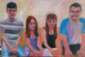 "Family portrait commission acrylic on canvas by fine artist Andrea Goldsmith. Mother and daughter and two sons sitting on couch. Acrylic on canvas 24x36"" grey-striped t-shirt, blue pants, blue dress, black shirt with white pants, black shorts and blue and white top. off-white background"