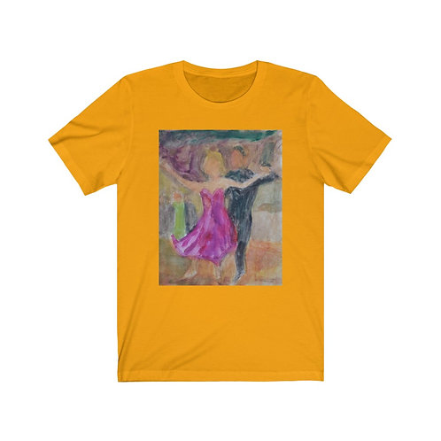 Gold Unisex Ballroom dancer T-shirt by artist Andrea Goldsmith