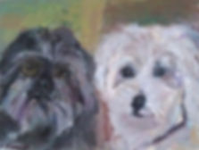 Custom pet portrait of two adorable dogs by Andrea Goldsmith