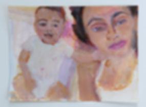 "custom portrait of mother and newborn daughter by artist Andrea Goldsmith. acrylic on paper 9x12""  pink fleshtones with white clothing"