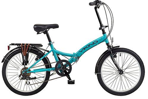 "Viking Metropolis 20"" Wheel 6 Speed Folding Bike Aqua"