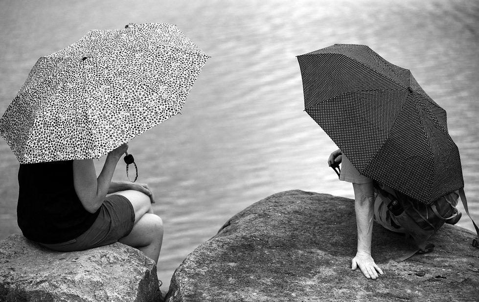 Spy Pond Arlington MA b&w photography umbrellas pandemic