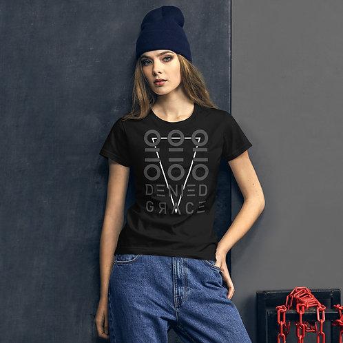 Women's Fitted Black Short Sleeve Downward T-Shirt