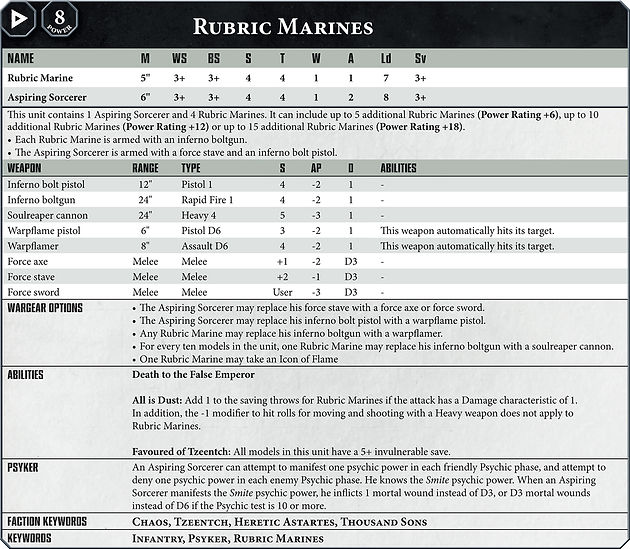 Put in ALL the rules! - The new datasheet format for 40k