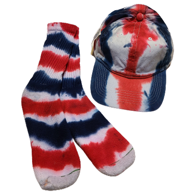 Red White and Blue Ball Cap and Crew Sock Set