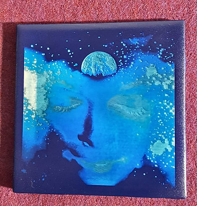 Cosmos Face Blue 4x4 Ceramic Tile Engraving