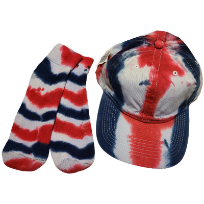 Red White and Blue Ball Cap and Quarter Top Sock Set