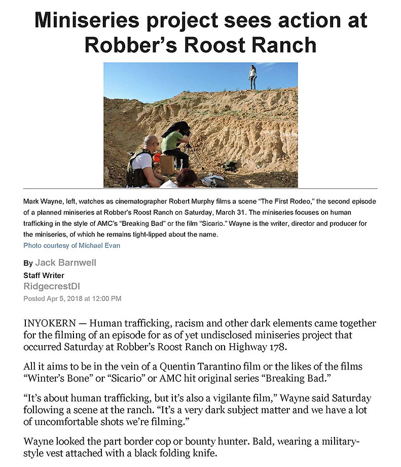 Miniseries project sees action at Robber