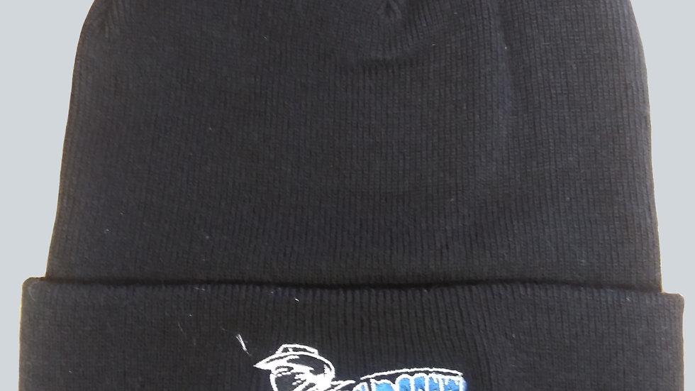 BLACK BEANIE  - BLUE EMBROIDERY
